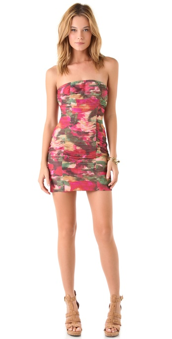 BB Dakota Oksana Printed Strapless Dress