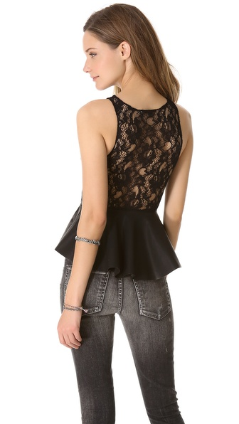 BB Dakota Cynthia Lace Back Peplum Top