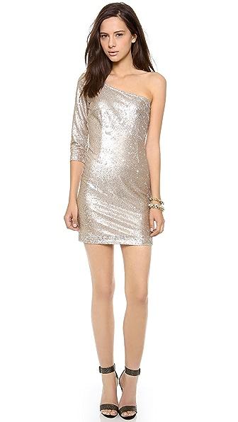 BB Dakota Crystal One Shoulder Sequin Dress