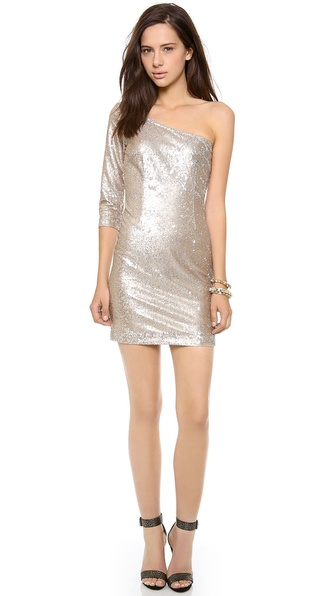 BB Dakota Crystal One Shoulder Sequin Dress