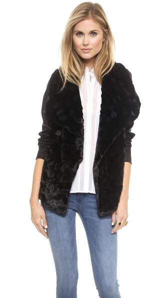 Bb Dakota Faux Fur Drape Front Jacket - Black