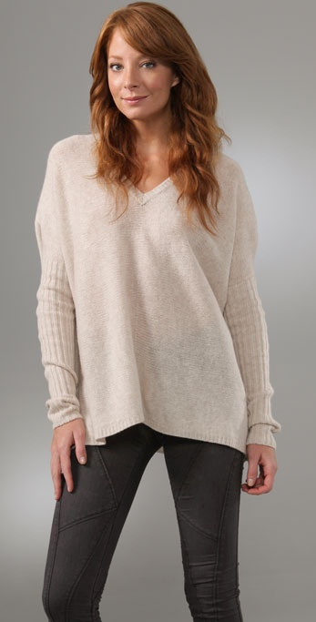 BCBGMAXAZRIA Oversized V Neck Sweater