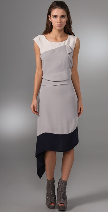 BCBGMAXAZRIA Draped Colorblock Dress