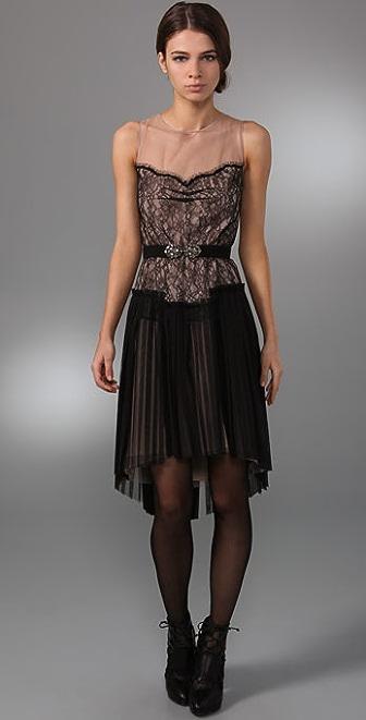 BCBGMAXAZRIA Lace Dress with Draped Skirt