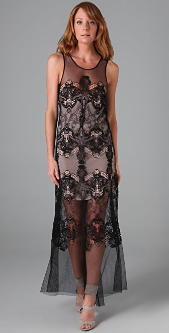 BCBGMAXAZRIA Victoria Embroidered Gown