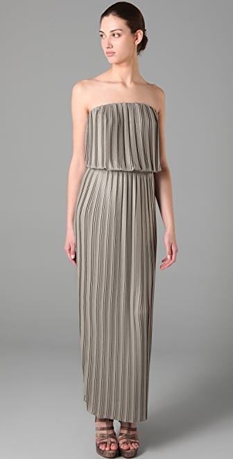 BCBGMAXAZRIA Mateo Strapless Pleated Dress