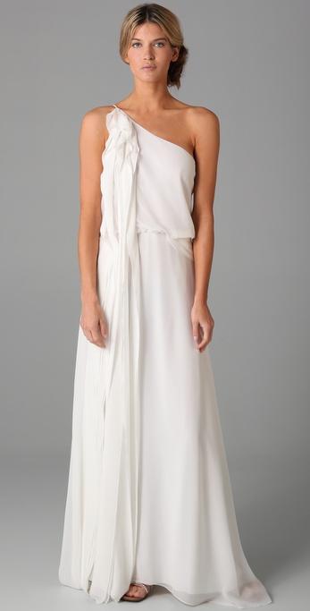 BCBGMAXAZRIA Long Ruffle Gown