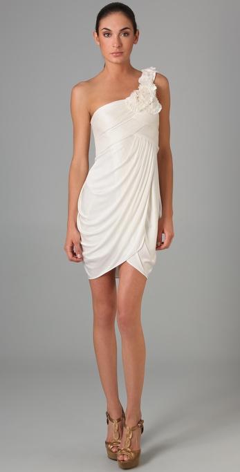 BCBGMAXAZRIA One Shoulder Rosette Dress