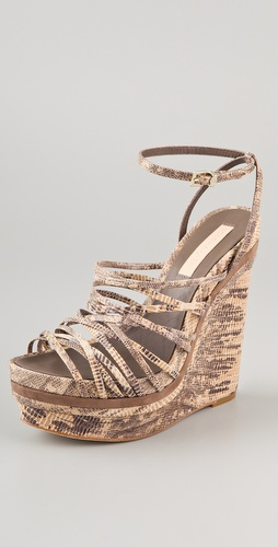 BCBGMAXAZRIA Laurol Embossed Wedge Sandals