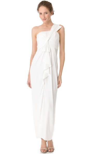 Bcbgmaxazria Barbara One Shoulder Gown - White at Shopbop / East Dane