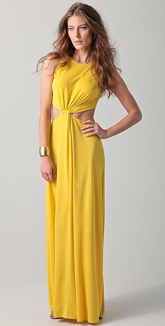 BCBGMAXAZRIA Olesya Draped Cutout Gown