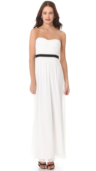 BCBGMAXAZRIA Amber Strapless Cascade Gown