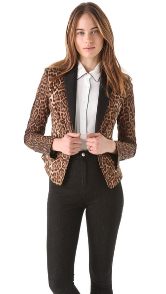 BCBGMAXAZRIA Bowie Leopard Tux Jacket