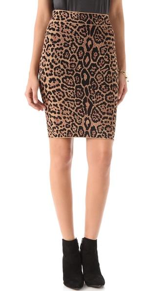 BCBGMAXAZRIA Gavin French Leopard Skirt