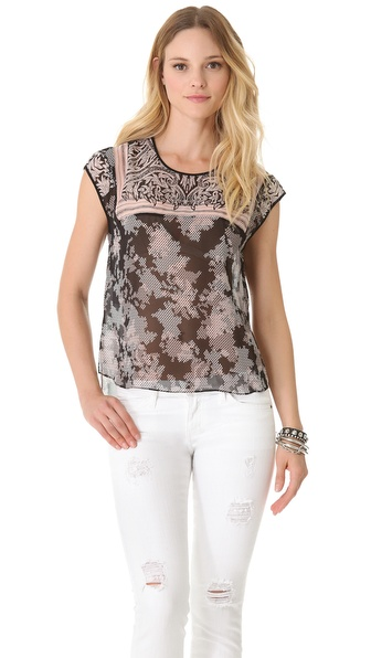 BCBGMAXAZRIA Viola Lace Print Top