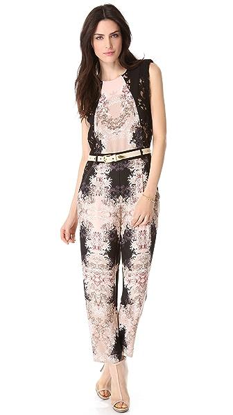 BCBGMAXAZRIA Lace Print Jumpsuit