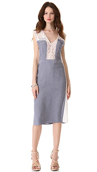 BCBGMAXAZRIA Lace Combo Dress