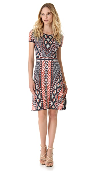 BCBGMAXAZRIA Printed Short Sleeve Dress