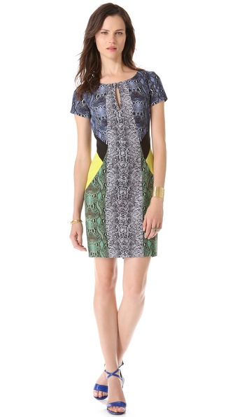 Colorblock Keyhole Dress :  bcbg prints style dress