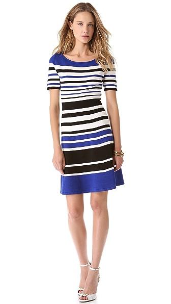 BCBGMAXAZRIA Short Sleeve Stripe Dress