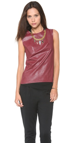 BCBGMAXAZRIA Faux Leather Shell Top at Shopbop / East Dane