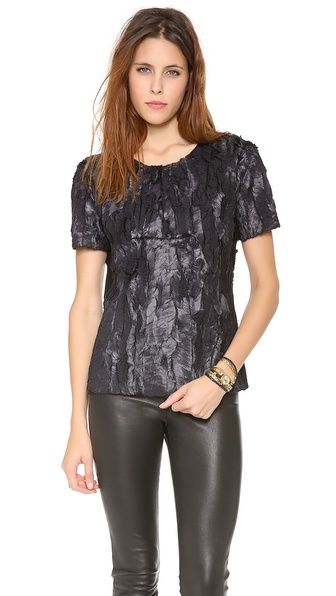 BCBGMAXAZRIA Textured Short Sleeve Top
