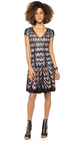 BCBGMAXAZRIA V Neck Sweater Dress