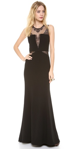 BCBGMAXAZRIA Lace Inset Gown at Shopbop / East Dane