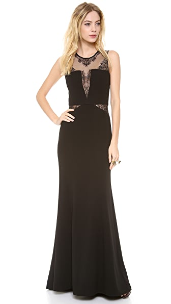 BCBGMAXAZRIA Lace Inset Gown