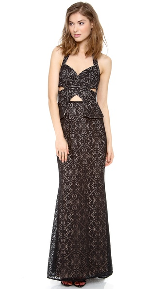 BCBGMAXAZRIA Daga Cutout Maxi Dress