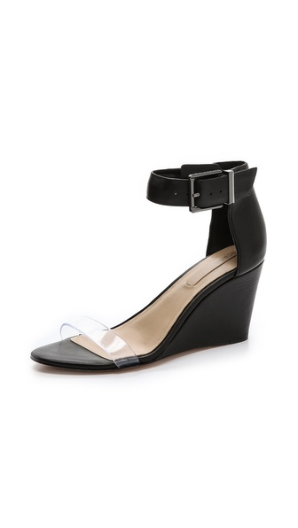 Bcbgmaxazria Latch Wedge Sandals - Clear/Black at Shopbop / East Dane