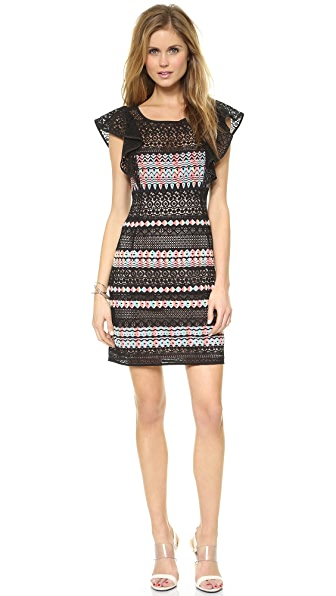 BCBGMAXAZRIA Roxine Ruffle Sleeve Embroidered Dress