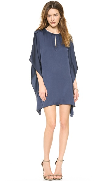 Shop BCBGMAXAZRIA online and buy Bcbgmaxazria Jazmine Keyhole Dress Carbon - A voluminous cut brings a sense of drama to this BCBGMAXAZRIA dress, styled with wide epaulets an a pointed, uneven hem. Hook and eye keyhole. Short batwing sleeves. Unlined. Fabric: Sateen. 100% polyester. Wash cold. Imported, China. Measurements Length: 31in / 78.5cm, from shoulder Measurements from size XS/S. Available sizes: M/L,XS/S