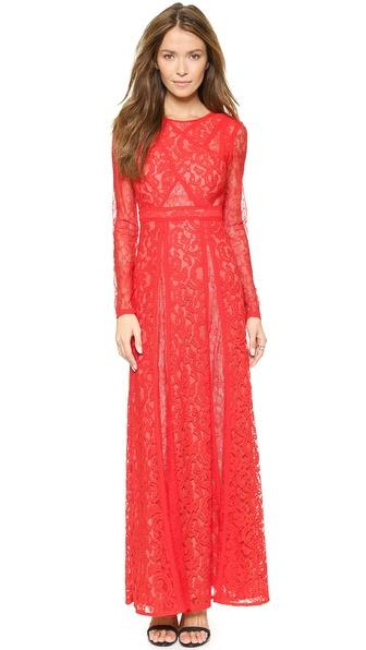 Kupi BCBGMAXAZRIA haljinu online i raspordaja za kupiti Bcbgmaxazria Kalie Lace Maxi Dress Poppy online