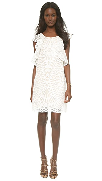 Bcbgmaxazria Ruffle Sleeve Dress - White