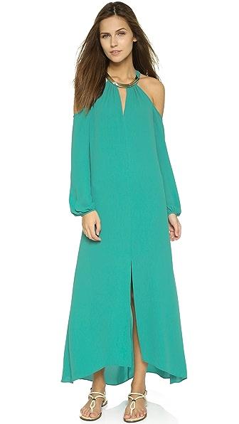 Kupi BCBGMAXAZRIA haljinu online i raspordaja za kupiti Bcbgmaxazria Cutout Shoulder Dress Dark Sea Green online