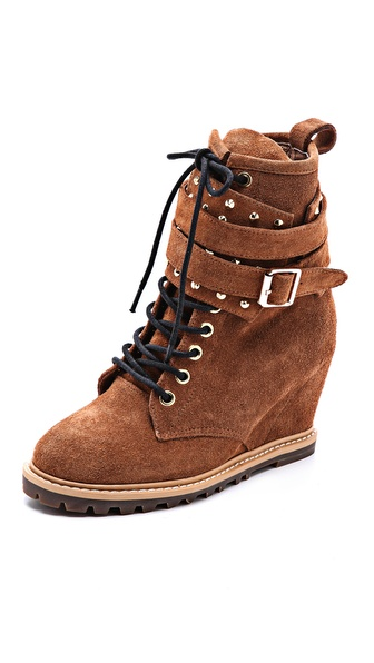 BE & D London Lace Up Wedge Booties