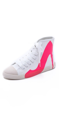 Shop BE & D online and buy BE & D Big City Sneakers - Canvas sneakers get a playful treatment with a neon high-heel graphic painted on the side. Grosgrain laces and polished aglets complete the look. Rubber sidewall and sole.  Imported, China. This item cannot be gift-boxed. - Fuschia