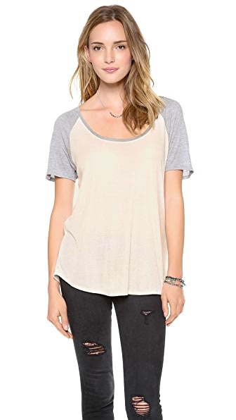 Bella Luxx Marble Scoop Neck Raglan Tee