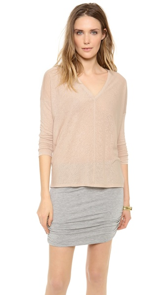 Bella Luxx Linen Long Sleeve Seamed V Neck Top