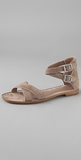 Belle by Sigerson Morrison Suede Crisscross Flat Sandals