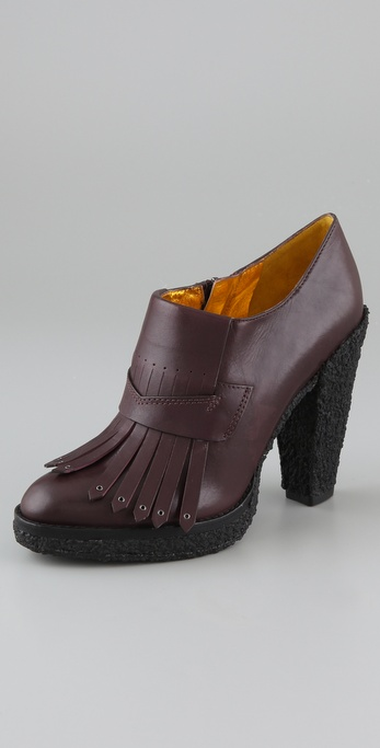 Belle by Sigerson Morrison Kilty Platform Booties on Crepe Heel