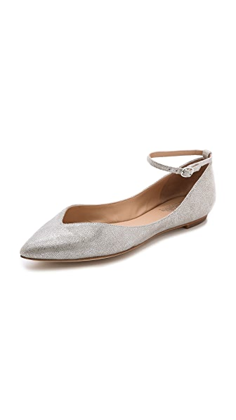 Belle by Sigerson Morrison Sable Metallic Ankle Strap Flats