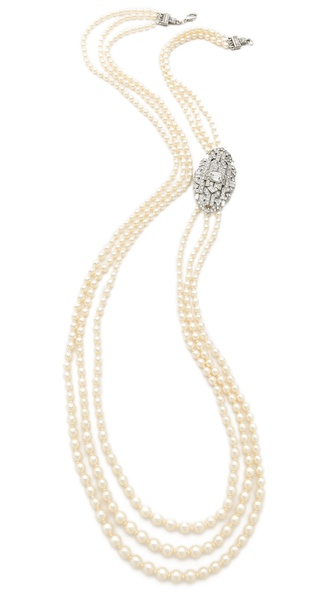 Ben-Amun Long Triple Strand Necklace - Pearl/Clear