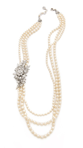 Ben-Amun Crystal Flower Pearl Necklace