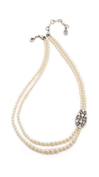 Ben-Amun Imitation Pearl and Crystal Necklace