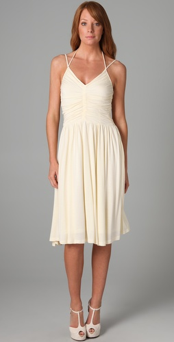 Beyond Vintage V Neck '70s Halter Dress