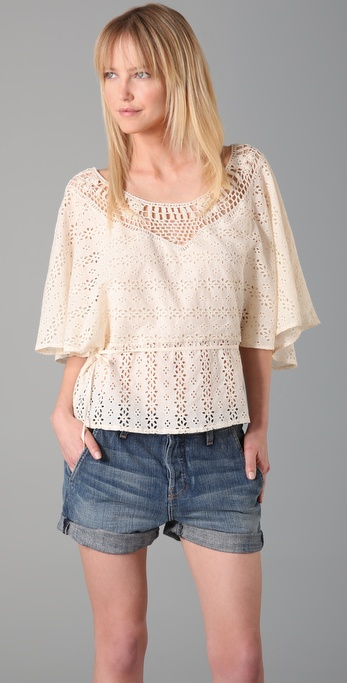 Beyond Vintage Eyelet Top with Crochet Yoke