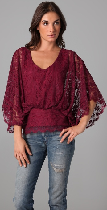 Beyond Vintage Ruby Lace Top