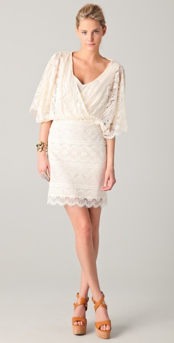 Beyond Vintage V Neck Lace Batwing Dress